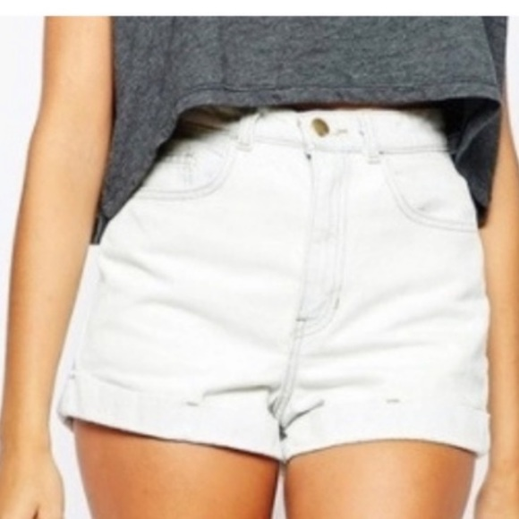 American Apparel High Waisted Denim Jean Shorts
